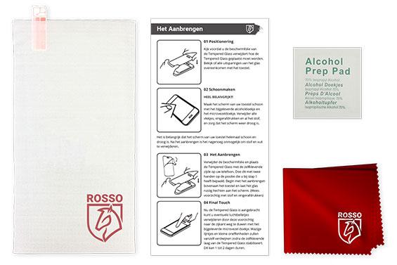 Rosso 9H Tempered Glass Screen Protector in de verpakking