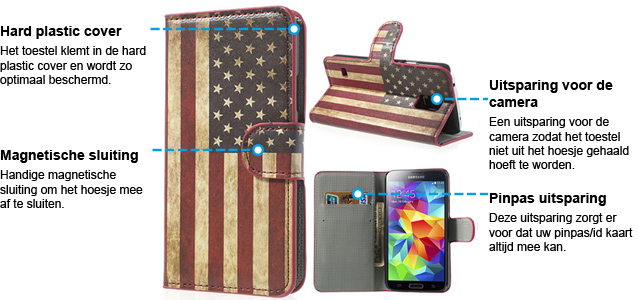 Samsung Galaxy S5 American Flag Leren Wallet Stand Case