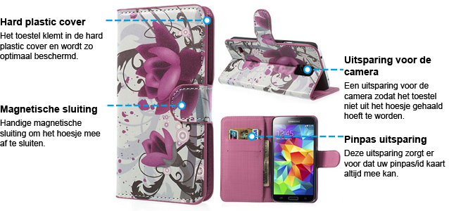 Samsung Galaxy S5 Lotus Bloem Wallet Stand Case
