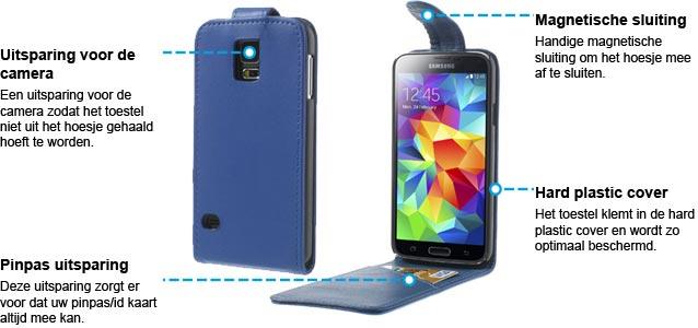 Samsung Galaxy S5 Vertical Flip Case Blauw