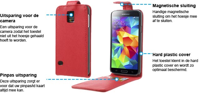 Samsung Galaxy S5 Vertical Flip case Rood