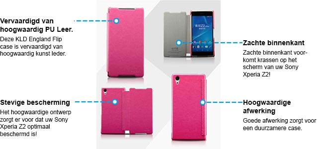 Sony Xperia Z2 hoesje kld england series lederen hoesje roze