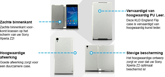 Sony Xperia Z2 hoesje kld england series lederen hoesje wit