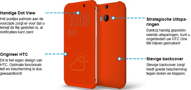 HTC One M8 Dot View Case Oranje Specificaties.