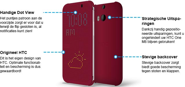 HTC One M8 Dot View Case Rood Specificaties.