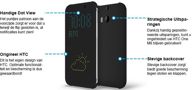 HTC One M8 Dot View Case Zwart Specificaties.