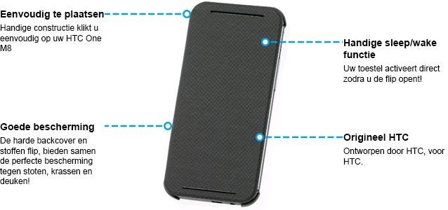 HTC One M8 Flip Case HC V941 Specificaties Zwart